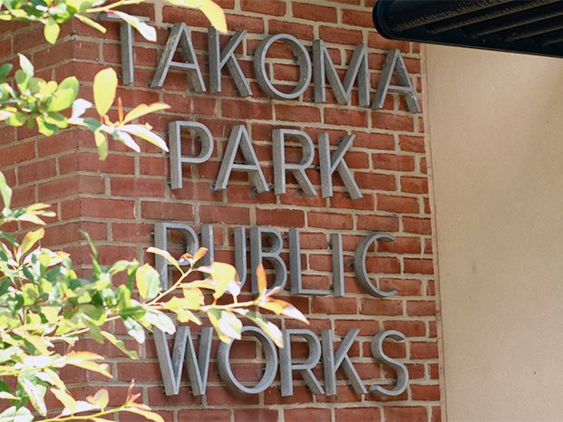 "Lettering reading ""Takoma Park Public Works."""