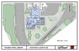 Architectural drawing of the exisiting floor plan of the Takoma Park Maryland Library.