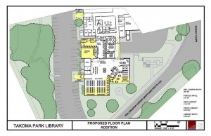 Architectural drawing of the proposed floor plan additions for the Takoma Park Maryland Library renovation.