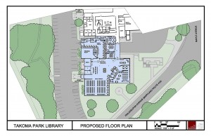 Architectural drawing of the proposed floor plan for the Takoma Park Maryland Library renovation.