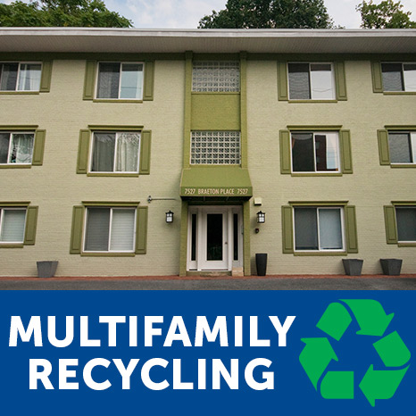 "Photo of Takoma Park condo with the text ""multifamily recycling"" and the symbol for recycling."