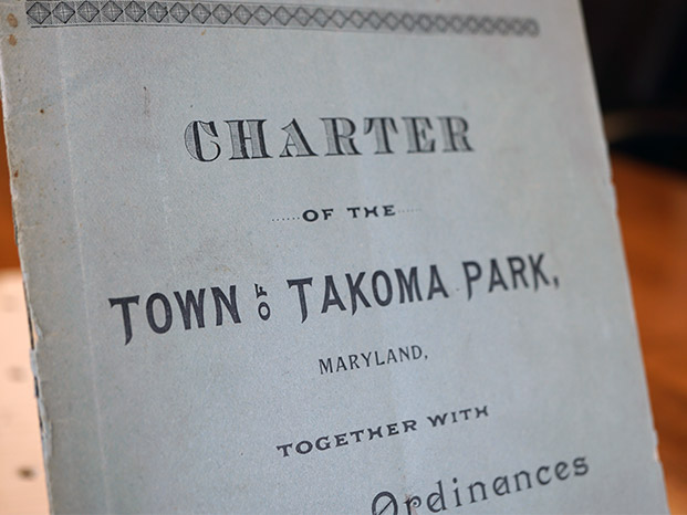 Photo of a historical Charter of the Town of Takoma Park.