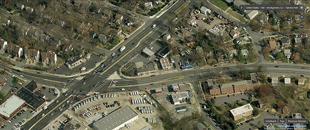 Aerial View of Ethan Allen Gateway Streetscape Project Area