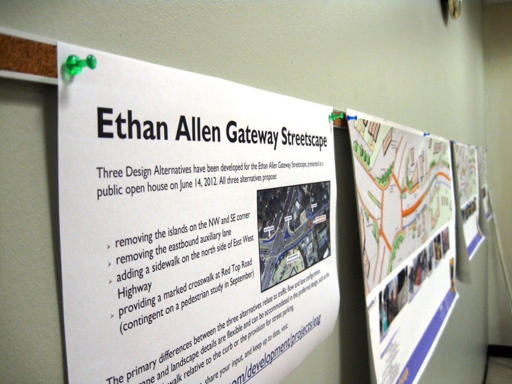 Plans for the Ethan Allen Gateway Streetscape improvement on display.