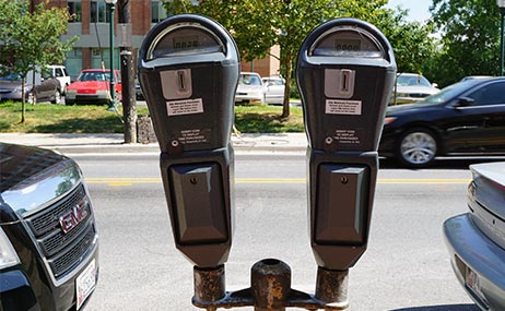 Photo of parking meters in Takoma Park.