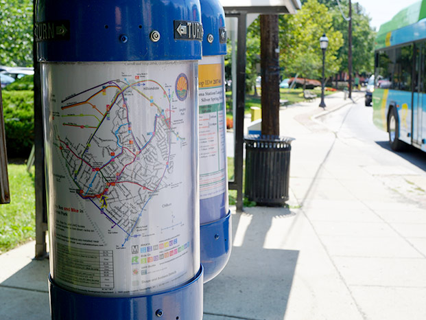 Photo of bus stop map tubes