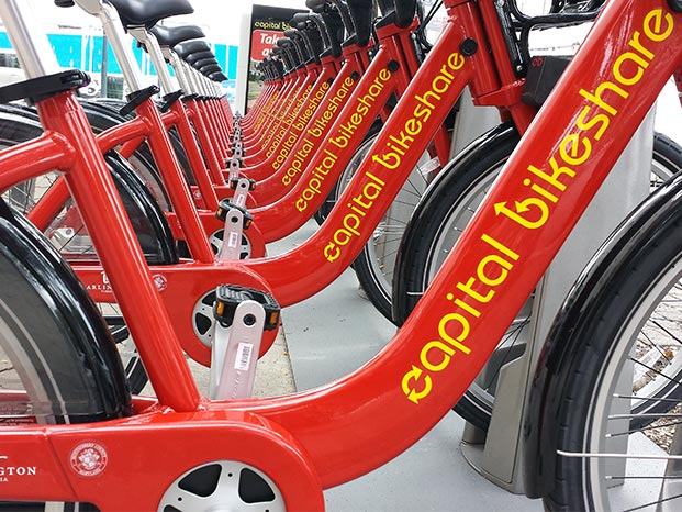 Capital Bikeshare bikes wait for riders at docking station in Takoma Park