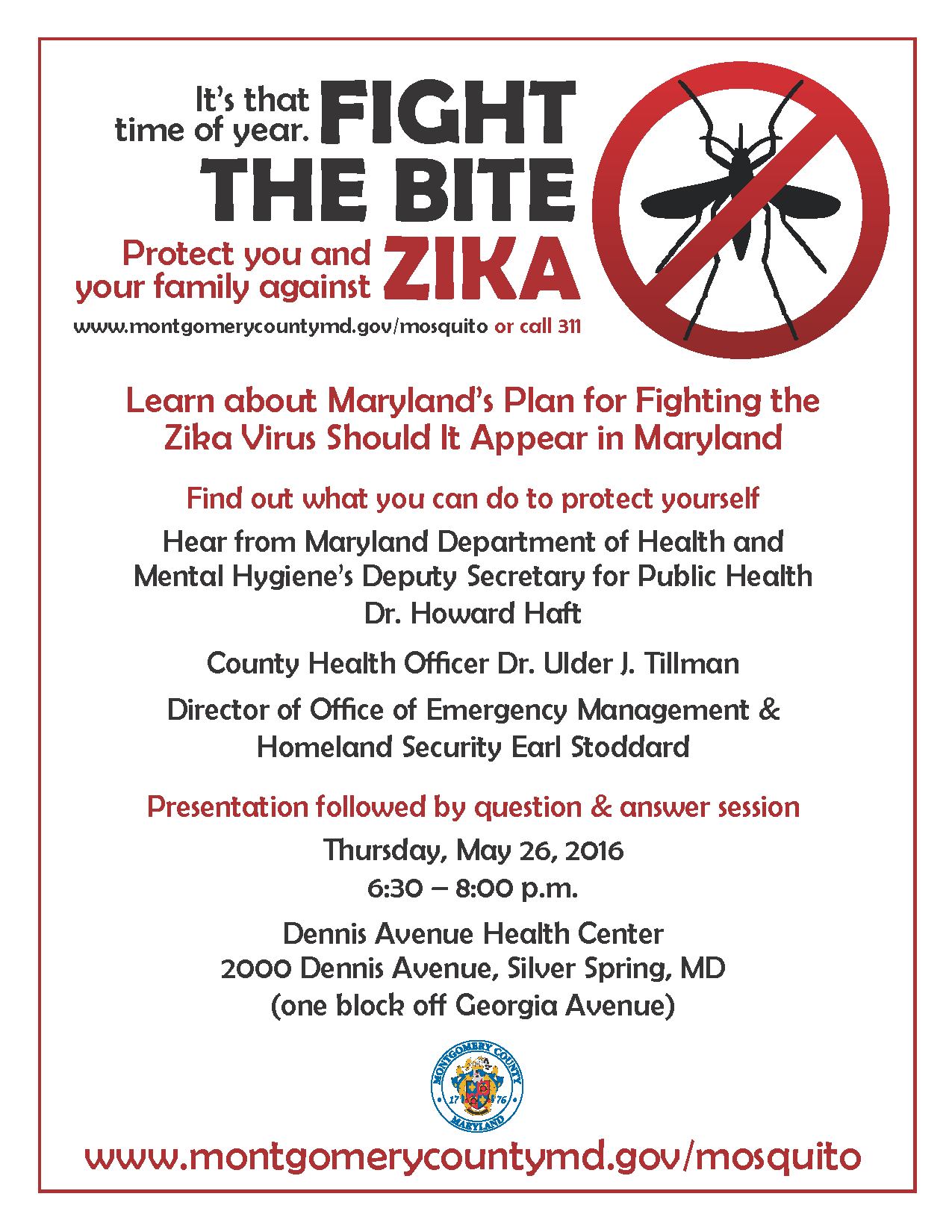 Montgomery County Produced poster for informational meeting RE: Zika (in English)