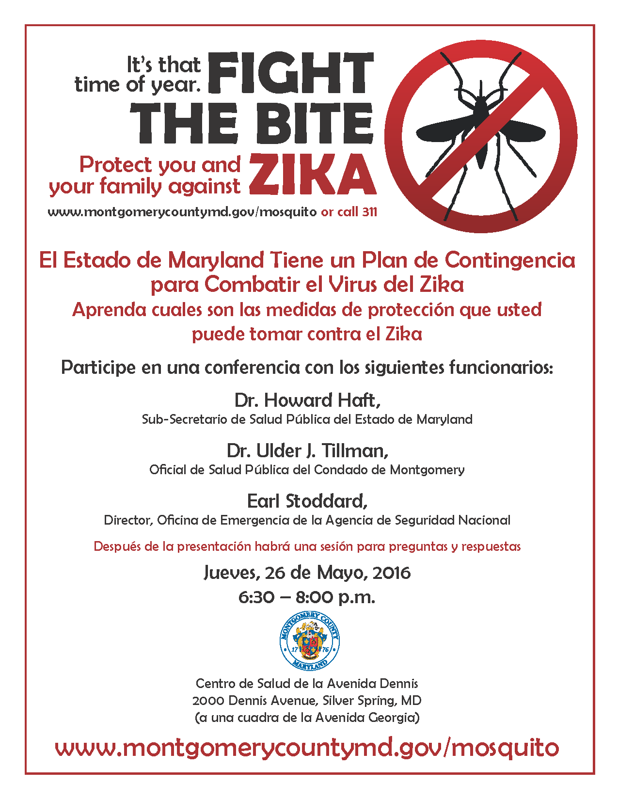 Montgomery County Produced poster for informational meeting RE: Zika (in Spanish)