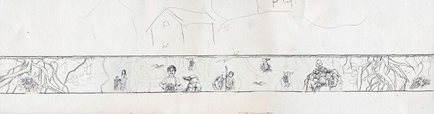 Concept drawing for Prince Georges and Conway mural: Mural scene of roots and the underworld