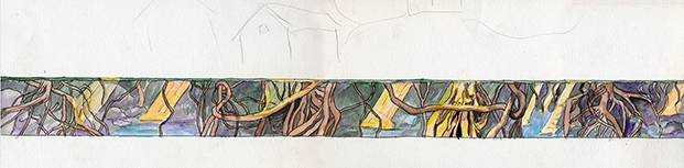Color panorama of full mural concept.