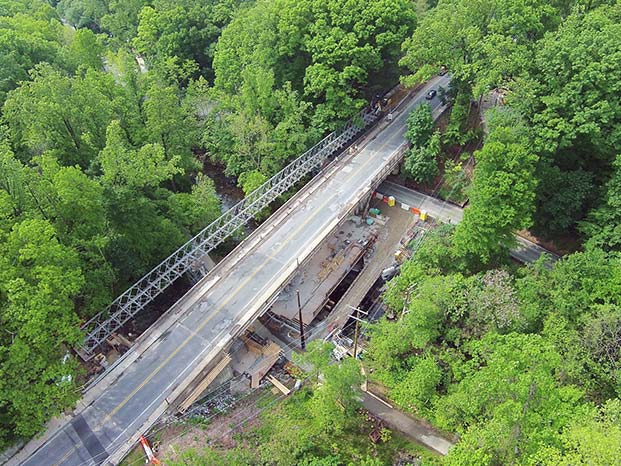 Aerial photo of the Carroll Avenue Bridge reconstruction dated May 16, 2016