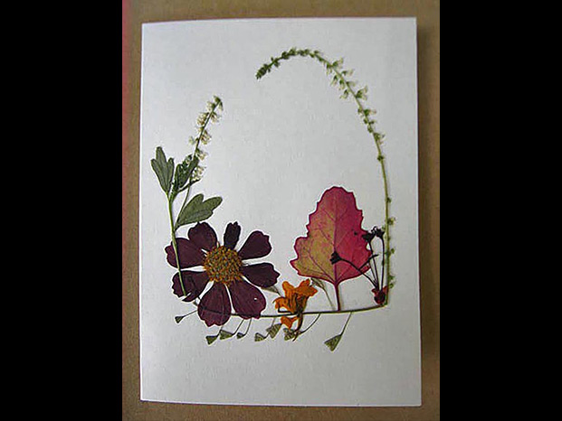 Pressed-flower greeting card by Joyce Wagner from the 2015 Holiday Art Sale
