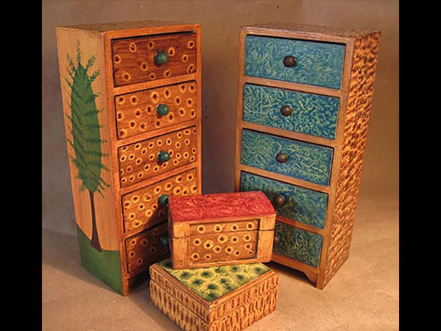 Five-drawer chests by Kristin Helberg from the 2015 Holiday Art Sale
