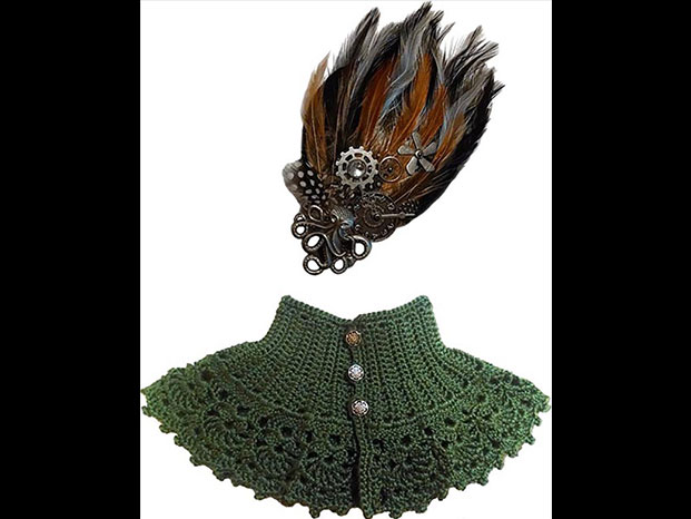 Capelette and hairpiece by Robin Anderson from the 2015 Holiday Art Sale