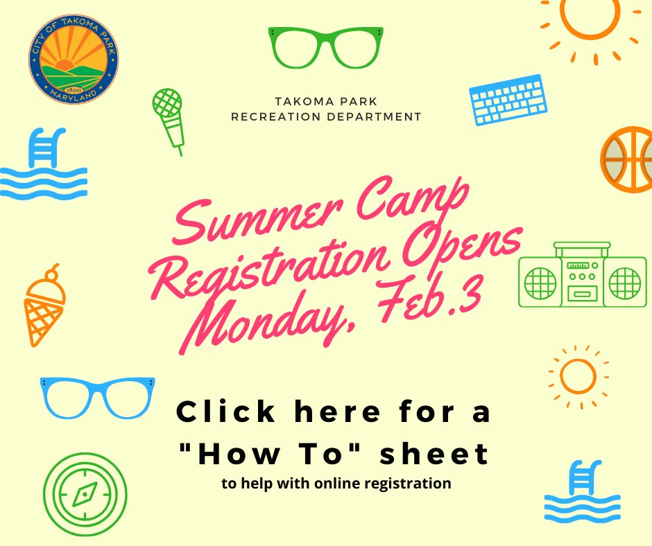 clip art of various camp images wtih registration information
